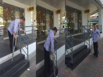 Alan mengalami kesukaran untuk menggunakan tangga kerana perlu memegang tongkat serta tangga bagi mengelakkan terjatuh