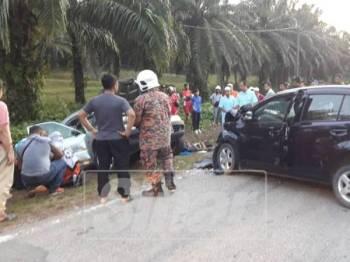 Keadaan kenderaan yang terlibat kemalangan sehingga menyebabkan tiga pelajar tersebut maut.