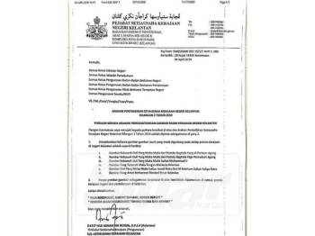 Surat pindaan yang difaks ke Pejabat Sinar Harian Kelantan petang tadi.
