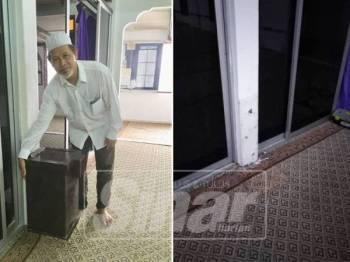 Apoo menunjukkan jenis peti besi tabung masjid yang sama dilarikan pencuri. Gambar kanan: Kedudukan peti pesi yang dilarikan.