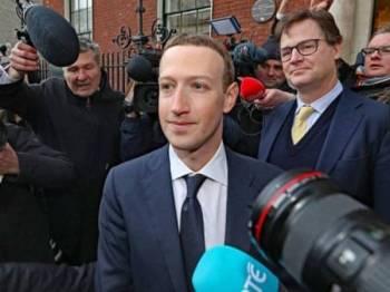 Mark Zuckerberg menghadiri mesyuarat dengan ahli politik bagi membincangkan peraturan berkaitan media sosial dan kandungan berbahaya pada 2 April.- Foto  Niall Carson/PA