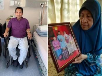 Gambar terbaharu Rahimi yang dikirimkan melalui aplikasi Whatsapp kepada keluarganya pagi tadi. (Gambar kanan: Rokiah menunjukkan gambarnya bersama keluarga Rahimi yang diambil pada Hari Raya Aidilfitri tahun lalu.)