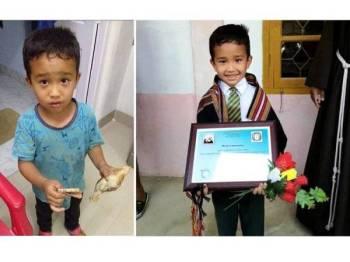 Lalchhanhima membawa sejumlah wang dan merayu kakitangan hospital menyelamatkan anak ayam yang dilanggarnya. Gambar kanan: Pihak sekolah memberi penghargaan kepada Lalchhanhima berikutan kisahnya.