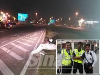 Mangsa disahkan meninggal dunia di tempat kejadian akibat cedera parah di kepala. (Gambar kecil: Gambar Allahyarham Mohd Faizal (kiri) bersama rakan-rakan ketika bertugas.)