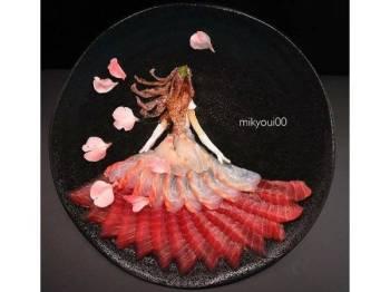 Antara rekaan sashimi yang dihasilkan oleh Mikyou. - Foto Instagram Mikyoui00