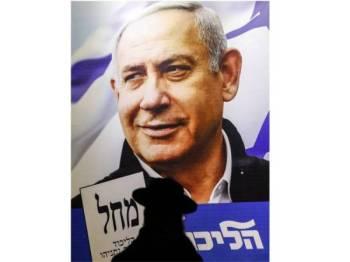 Rakyat Israel bakal tentukan nasib Perdana Menteri Benjamin Netanyahu. - Foto AFP