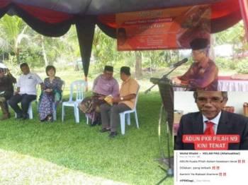 Adun Pilah Nazarudin semasa berucap di Kampung Sikai Pilah tadi. Gambar kecil, tular Adun Pilah tenat adalah palsu.