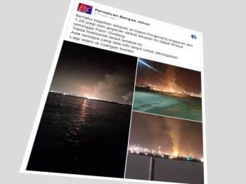 Paparan skrin Facebook Persatuan Bangsa Johor berhubung kejadian letupan yang berlaku awal pagi tadi.