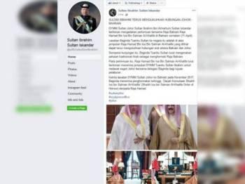 Hamparan Facebook Sultan Johor, hari ini.