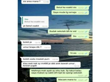 Perbualan WhatApps  penjual pil gugur janin bersama wartawan Sinar Siasat yang menyamar sebagai pelajar hamil.