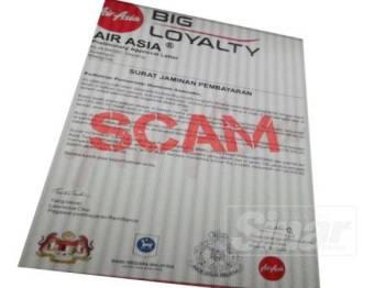 AirAsia memberi amaran kepada orang ramai terhadap penipuan dalam talian melalui e-mel yang menggunakan tajuk Bonus AirAsia Big Loyalty.