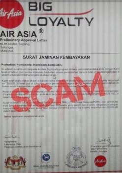 Laman sesawang palsu yang didakwa  penipuan menggunakan jenama AirAsia.