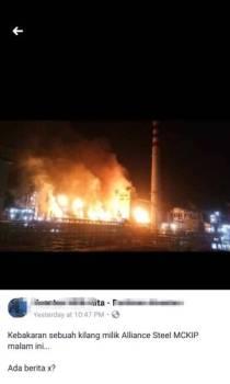 Antara gambar 'kebakaran' kilang Allience Steel yang tular di Faceebook malam tadi.