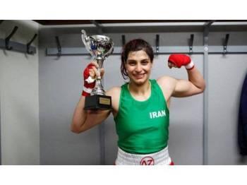 Sadaf Khadem mengharumkan nama Iran selepas menang perlawanan tinju amatur di Perancis, Sabtu lalu.