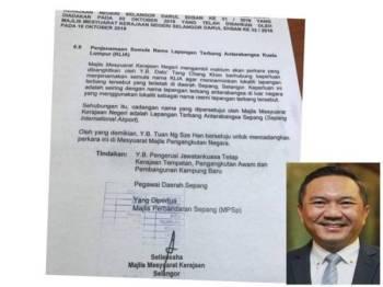 Surat yang tular mendedahkan berhubung cadangan penukaran nama KLIA kepada Lapangan Terbang Antarabangsa Sepang. (Gambar kecil: Ng Sze Han)