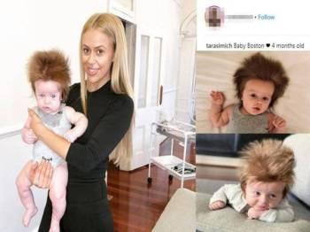 Boston yang berusia empat bulan berjaya menarik perhatian netizen di media sosial dek kerana rambutnya yang unik. - Foto Instagram Tarasimich