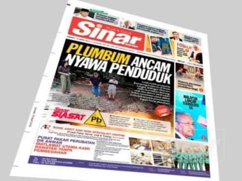 Laporan muka hadapan Sinar Harian hari ini memaparkan isu pencemaran plumbum di Jenjarom, Kuala Langat.