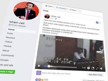 Laman Facebook milik Isham Jalil yang menyiarkan prosiding mahkamah membabitkan Najib hari ini.