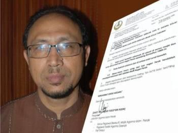 Surat pekeliling didakwa dikeluarkan Jaipk berkaitan peraturan solat sunat tarawih pada bulan Ramadan ini kini tular dalam media sosial sejak hari ini. Gambar kecil: Mohd Yusop
