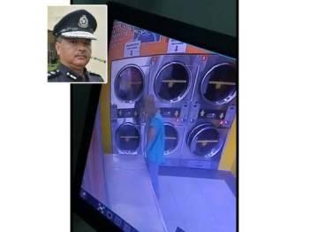 Rakaman CCTV jelas menunjukkan seorang lelaki melarikan kesemua pakaian di dalam mesin pengering di sebuah dobi layan diri di Kuala Ibai. Gam,bar kecil: Abdul Rahim Md Din
