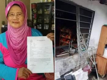 Bechik menunjukkan laporan polis kejadian pecah rumah yang berlaku di rumahnya di Kampung Tampok.
