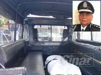 Mayat Mohamad Daud, 48, yang ditemui mati dalam sebuah kebun kelapa dibawa polis ke hospital untuk bedah siasat. Gambar kecil, Abdul Rahim.