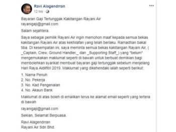 Ravi turut memuatnaik notis pembayaran tunggakan gaji kakitangan Rayani Air di Facebooknya.