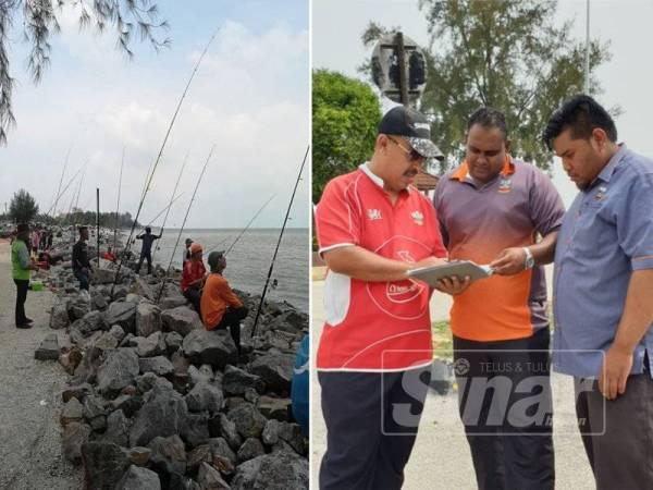 Pantai Remis yang sesuai untuk pertandingan memancing. (Gambar kanan: Md Zali (kiri) memberi penerangan mengenai program tersebut kepada Puspanath.)
