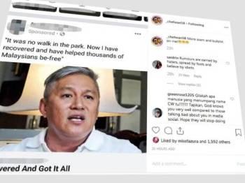 Paparan skrin entri Chef Wan di Instagram.
