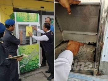 Mohd Rosli menampal notis sitaan pada mesin air yang tiada lesen KKM.
