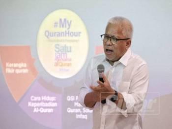 Hussamuddin berucap pada Majlis Pelancaran dan Taklimat Sinergi Media Malaysia sempena World #Quran Hour 1444H/2019 di Shah Alam, semalam.
