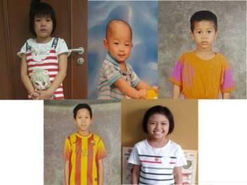 JKM Wilayah Persekutuan sedang mengesan waris lima kanak-kanak, (dari atas kiri) Sofea Lai, Adam Lai, Mohd Hafiz, Mohd Abbas dan Sabrina Loh