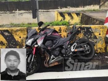 Keadaan motosikal mangsa yang ditemui di KM272.8 dipercayai terbabas di Ipoh. Gambar kecil, Mohamad Haris.