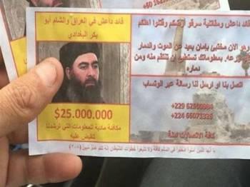 Tentera Iraq menawarkan ganjaran AS$25 juta (RM103 juta) untuk mendapatkan maklumat tentang al-Baghdadi.