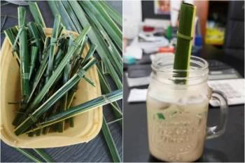 Cafe Editha menggunakan straw daun kelapa bagi memelihara alam sekitar. - Foto Facebook Cafe Editha