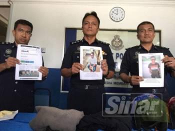 Ketua Polis Daerah Iskandar Puteri, Asisten Komisioner Dzulkhairi Mukhtar menunjukkan gambar rakan suspek yang sedang giat dikesan oleh pihaknya.