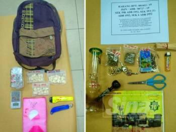 Antara barangan yang dirampas dalam serbuan polis dari Jabatan Siasatan Jenayah Narkotik negeri ini di dua lokasi di daerah Seremban semalam.