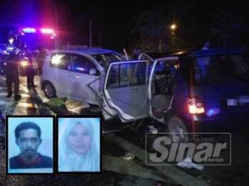 Keadaan kenderaan yang terbabit dalam kemalangan di Kilometer 348 Jalan Kuala Lumpur-Kota Bharu dekat Simpang Ruan awal pagi tadi. (Gambar kecil: Nasrul (kiri) dan Hasliza)