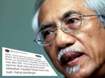 Ciapan Tunku Ismail yang mengetahui tindakan 'Kadir' di Menara Ilham bagi perbincangan untuk 'menghabiskan' pihak Istana Johor semalam.