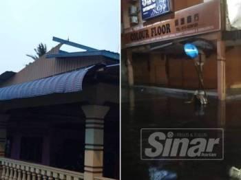 Bahagian bumbung sebuah rumah yang rosak serta keadaan banjir yang melanda Pusat Bandar Parit Buntar malam semalam.