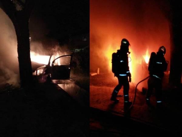 Anggota bomba memadamkan kebakaran kereta yang mengakibatkan dua mangsa cedera parah dalam kejadian itu. - Foto Jabatan Bomba dan Penyelamat Selangor