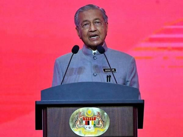 Perdana Menteri Tun Dr Mahathir Mohamad menyampaikan Perutusan Perdana Setahun Malaysia Baharu di Pusat Konvensyen Antarabangsa Putrajaya (PICC) hari ini. Foto: Bernama