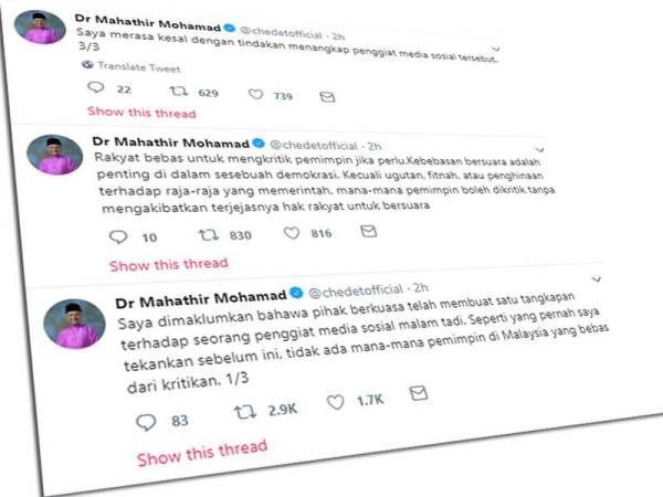 Paparan skrin kenyataan Perdana Menteri di laman mikro Twitter miliknya.