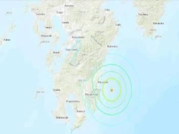 Gempa bumi berkekuatan 6.3 landa selatan Jepun hari ini. - Foto USGS