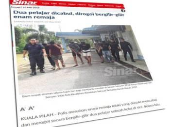 Laporan Sinar Harian pada 2 Mei lalu.