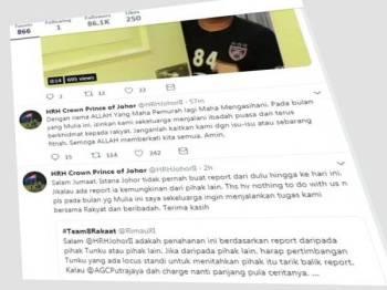 Paparan skrin akaun rasmi Twitter Tunku Mahkota Johor, Tunku Ismail Ibni Sultan Ibrahim.