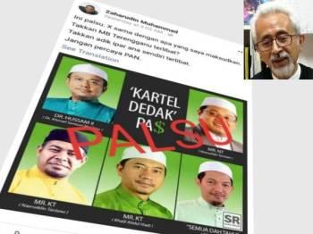 Status yang dimuat naik Zaharudin semalam yang menafikan penglibatan Menteri Besar Terengganu, Dr Ahmad Samsuri Mokhtar dan Ketua Pemuda Pas, Muhammad Khalil Abdul Hadi terlibat dalam 'kartel dedak'.