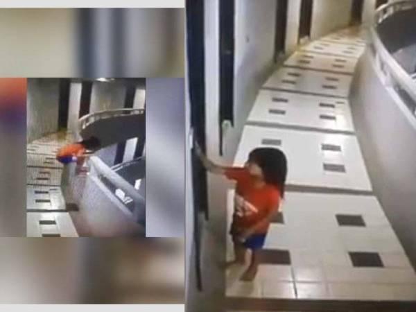 Rakaman CCTV memaparkan kanak-kanak itu berlegar di ruang balkoni hotel. - Foto Ruk Siam News