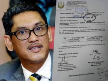 Surat mengenai penjenamaan semula nama Terminal Amanjaya kepada Terminal Meru Raya yang tular di media sosial sejak dua hari lalu.