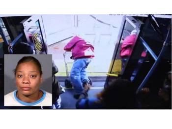 Rakaman CCTV menunjukkan mangsa ditolak dan jatuh tersembam ke laluan pejalan kaki oleh seorang wanita dalam kejadian di Las Vegas pada 21 Mac lalu. Gambar kecil: Cadesha Bishop